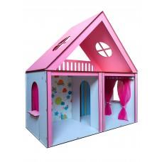 Кукольный ЭКО домик для кукол Барби (Barbie) Особняк Барби + 2 вида обоев + 2 шторки 68х34х68 см (3103)
