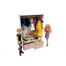 """Кукольная мебель ЭКО для кукол Барби Barbie в кукольный домик - Набор """"Шкаф Малый"""" из 7 предметов (6101)"""
