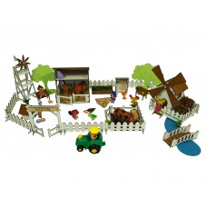 """Кукольная мебель для кукол до 20 см в кукольный домик - игровой набор """"Ранчо с механической Мельницей"""" (1202)"""