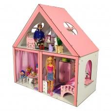 Кукольный ЭКО домик для кукол Барби (Barbie) Особняк + мебель + обои + шторы + текстиль 68х34х68 см (3104)