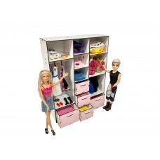 """Кукольная мебель ЭКО для кукол Барби Barbie в кукольный домик - Набор """"Шкаф Большой"""" из 11 предметов (6102)"""