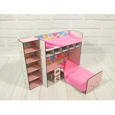 """Кукольная мебель ЭКО для кукол Барби Barbie в кукольный домик - Набор """"Спальный уголок"""" из 2 предметов (6103)"""