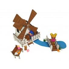 """Кукольная мебель для кукол до 20 см в кукольный домик - игровой набор """"Сказочная Мельница"""" механическая (1203)"""