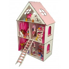 Кукольный Домик для кукол ЛОЛ LOL с мебелью, текстилем, обоями и лестницей LITTLE FUN maxi 40х20х62 см (2106)