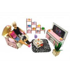 """Кукольная мебель ЭКО для кукол в кукольный домик - Набор """"Гостиная комната"""" из 5 предметов (3113)"""
