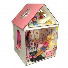 Кукольный 2-этажный домик для кукол Барби Barbie и ЛОЛ LOL с мебелью и текстилем 34х34х51 см (3102)