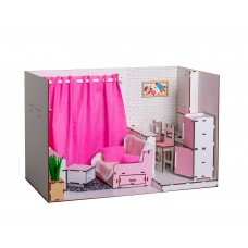Кукольный домик-квартира для кукол Барби (Barbie) - 1 этаж с мебелью и текстилем 50х34х30 см (7001)