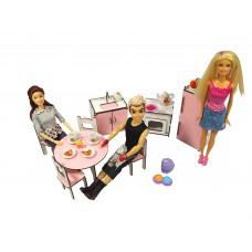 """Кукольная мебель ЭКО для кукол в кукольный домик - Набор """"Кухня"""" со столом и стульями из 8 предметов (3110)"""