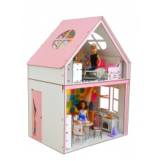 """Кукольный ЭКО домик для кукол Барби (Barbie) """"Загородный"""" с мебелью, лестницей и текстилем 50х34х69 см (3122)"""