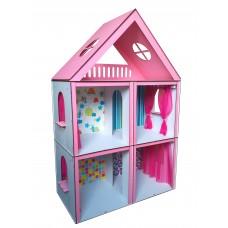 Кукольный домик для кукол Барби (Barbie) Большой Особняк + 4 вида обоев + 4 шторки 68х34х100 см (3105)