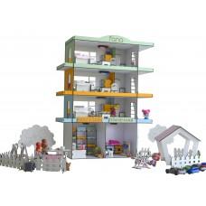 Кукольный Домик для кукол ЛОЛ Радужная многоэтажка со светом, двориком, мебелью и текстилем 55х20х71 см (2306)