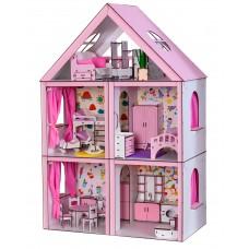 Кукольный ЭКО домик для кукол Барби (Barbie) Большой Особняк + мебель + текстиль 68х34х100 см (3106)