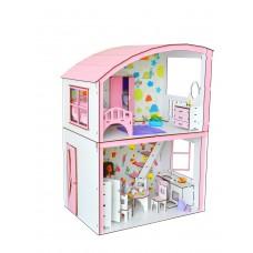 """Кукольный ЭКО домик для кукол Барби (Barbie) - Набор """"Уютная Вилла"""" с мебелью и текстилем 50х34х69 см (3123)"""