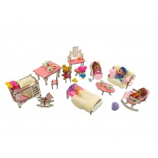 Кукольная мебель ЭКО для кукол ЛОЛ LOL в кукольный домик - Набор из 12 предметов для кукольного домика (1102)