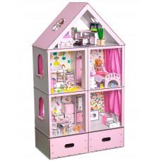 Кукольный ЭКО домик для кукол Барби (Barbie) Большой Особняк Lux + ящик для игрушек 68х34х120 см (3108)