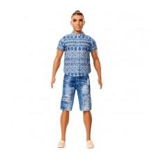 Кукла для девочек Барби Кен Модник Шатен в джинсовых шортах - Ken Fashionistas Distressed Denim Barbie Doll