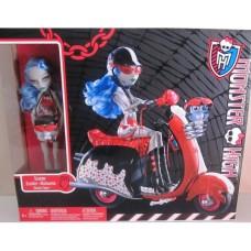 Кукольный игровой набор Monster High Кукла монстер хай Гулия на скутере Ghoulia Yelps+Scooter