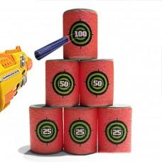 Игровой Набор для бластеров: 6 мягких мишеней-бочонков из EVA, красные, с цифрами, высота 6 см - Set of targets