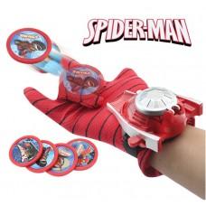 Игровая Перчатка Человека-Паука с метателем пластиковых дисков (4 штуки) для детей - Ultimate Spider-Man glove