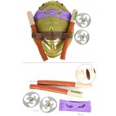 Игровой набор оружия Донателло Черепашки Ниндзя: фиолетовая маска, боевой панцирь, 2 сюрикена, шест Бо, TMNT