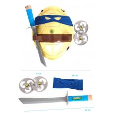 Игровой набор оружия Леонардо Черепашки Ниндзя: синяя маска, боевой панцирь с фото героя, 2 сюрикена, меч TMNT