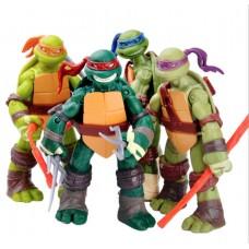 Набор фигурок Черепашки Ниндзя 4 героя, подвижные руки, ноги, шея, аксессуары, высота 12 см TMNT, Nickelodeon