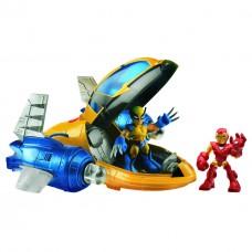 Игровой набор: Спасательный самолет + Железный Человек + Росомаха, Hasbro