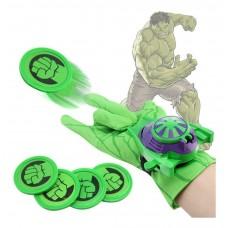 Игровой набор для детей Перчатка Халка с дискометом и пластиковыми дисками (4 штуки) - Hulk Glove Launches