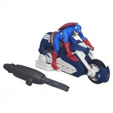 Игровой набор 2в1 Капитан Америка на мотоцикле с пусковым механизмом, 15 см - Captain America Blast-n-Go Hasbro