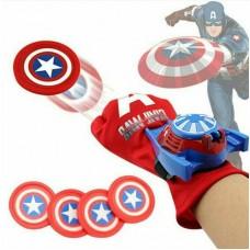 Перчатка-оружие Капитана Америки с вылетающими дисками (4шт D=3.5 см) крепится на руке - Captain America glove