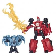 Трансформеры Hasbro Сайдсвайп и миникон Анвил, Роботы под Прикрытием - Robots in Disguise Sideswipe vs Anvil