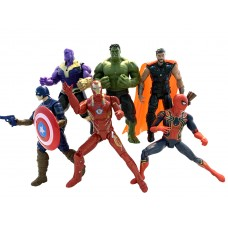 Набор Игровых Фигурок Мстители Война бесконечности 6 в 1, высота 17 см, с подсветкой - Avengers, Infinity War