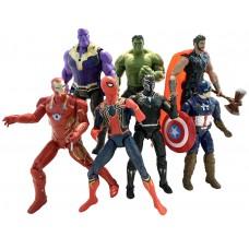Набор фигурок 7в1 Мстители: Тор, Халк, Танос, Железный Человек, Человек-паук, Капитан Америка, Черная Пантера*