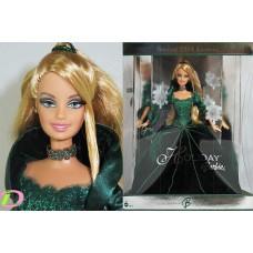 Коллекционная Кукла Барби Праздничная с накладными ресницами в зеленом пышном платье Holiday Barbie 2004 года