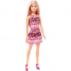 Кукла Барби Блондинка с прямыми волосами в Розовом коротком узорном платье Barbie Doll In Pink Dress 30 см