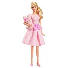 Коллекционная Кукла Барби Блондинка с зайчиком в розовом платье - Barbie Collector It's A Girl Doll