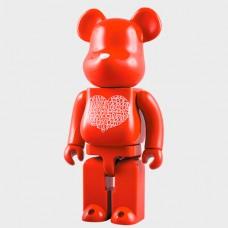 Дизайнерская Игрушка Беарбрик Кавс Bearbrick Kaws Фигурка Мишка Валентин Bearbrick 400 % (высота около 28 см)