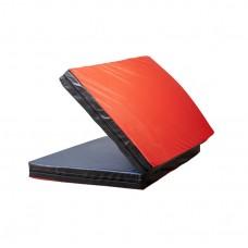 Гимнастический спортивный складной Мат-Книжка двойной для зала, кожвинил (цвет красный-черный) 160х100х8 см