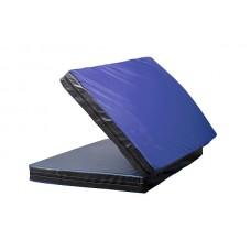 Гимнастический спортивный складной Мат-Книжка двойной для зала, кожвинил (цвет синий-черный) 160х100x8 см