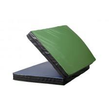 Гимнастический спортивный складной Мат-Книжка двойной для зала, кожвинил (цвет зеленый-черный) 160х100x8 см