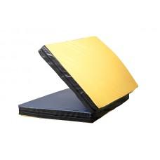 Гимнастический спортивный складной Мат-Книжка двойной для зала, кожвинил (цвет желтый-черный) 200х100х8 см