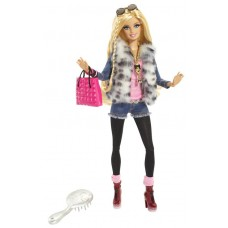 Игровая Кукла Барби для девочек коллекция Стиль Модница Делюкс в меховом жилете - Faux Fur Fun Barbie Style Doll