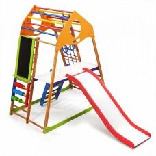 Детский спортивный комплекс-уголок для дома и квартиры, сетка, горка, кольца, рукоход 132х85х150 см KWP 3 47869-19 ks-«KindWood Plus 3»