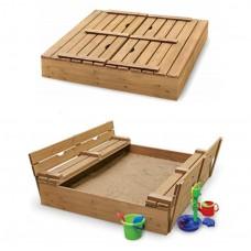 Детская Деревянная Песочница с лавочкой, крышкой и бортиками, для дачи и улицы 200х200х23 см