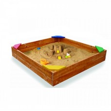 Детская Деревянная Классическая Песочница со скамеечками по углам, бортиками, для улицы и дачи 145х145х30 см