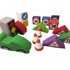 Дидактический Развивающий Модульный набор Правила дорожного движения с 14 элементами для детей от 1 года