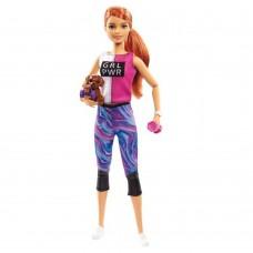 Кукла Барби Рыжая Фитнес йога с собачкой и девятью аксессуарами для занятия спортом Fitness Doll