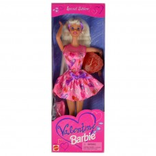 Коллекционная Кукла Барби День Валентина Блондинка розовое платье с сердечками 1997 года - Barbie Valentine Day