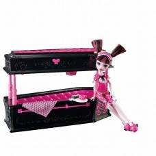 Детская Игрушка Для Куклы Кровать Дракулауры Монстер Хай черная Monster High Draculaura Jewelry Box Coffin