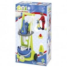 Детский Игровой Набор Тележка для уборки с пылесосом и тележкой моющего средства 8аксессуаров желтый Ecoiffier